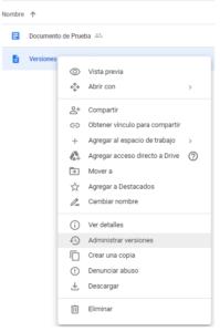 administrar versiones G Suite