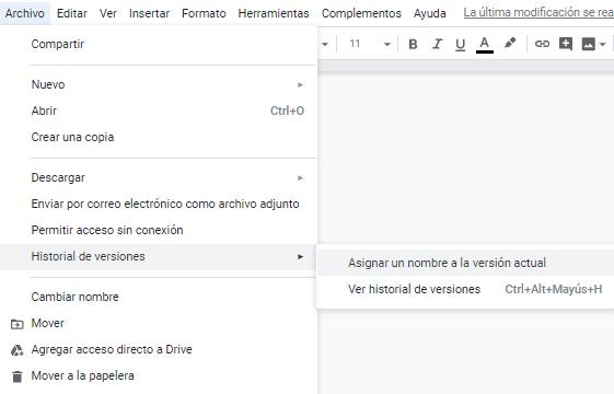 historial de versiones Google Docs